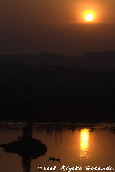Sunset in Jinja over the Nile river