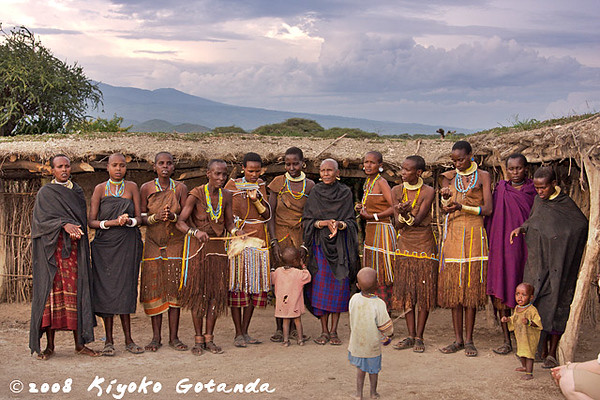 The Tatoga women line up for the traditional dance