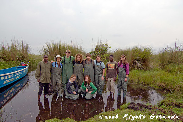 The eco team at Kaz's lagoon off of Lake Nabugabo