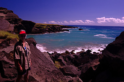Susie Byersdorfer at Puauaomahana, green sand beach near the southern most point in the the United State