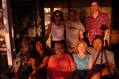 Mom, Dad and Me (rear) Susie, Lisa, Grandma, Sandi, Mike and Tripod Shadow (front) at the Kona house