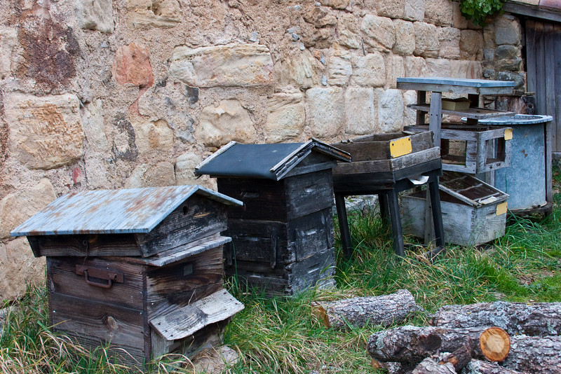 Beehives outside of D'Arques Castle in the Aude Region of France;