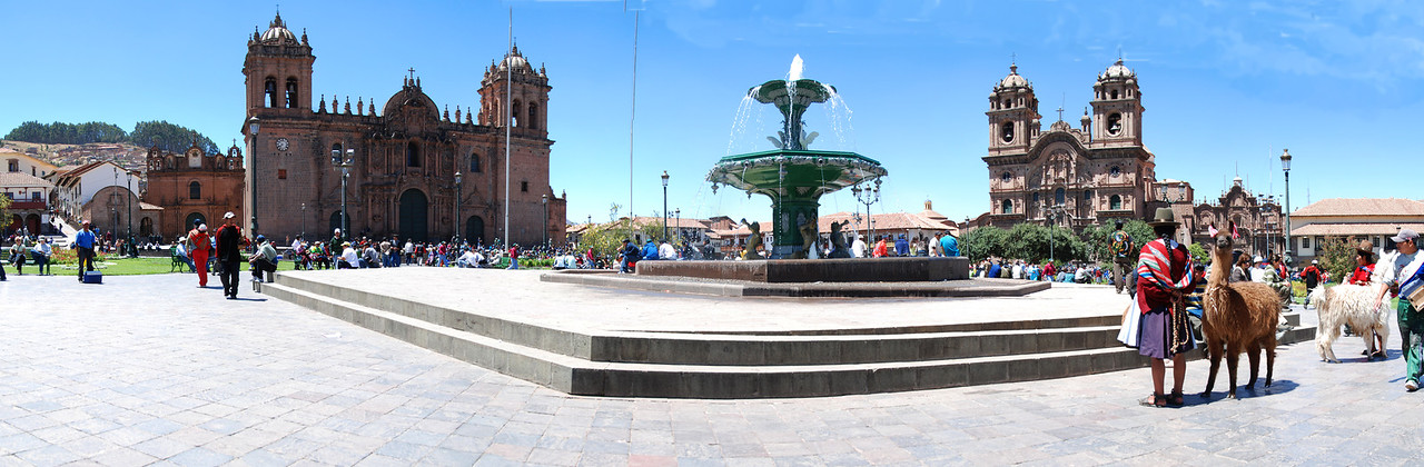 This is a panoramic view of the main plaza in Cusco - the Plaza-de Armas.