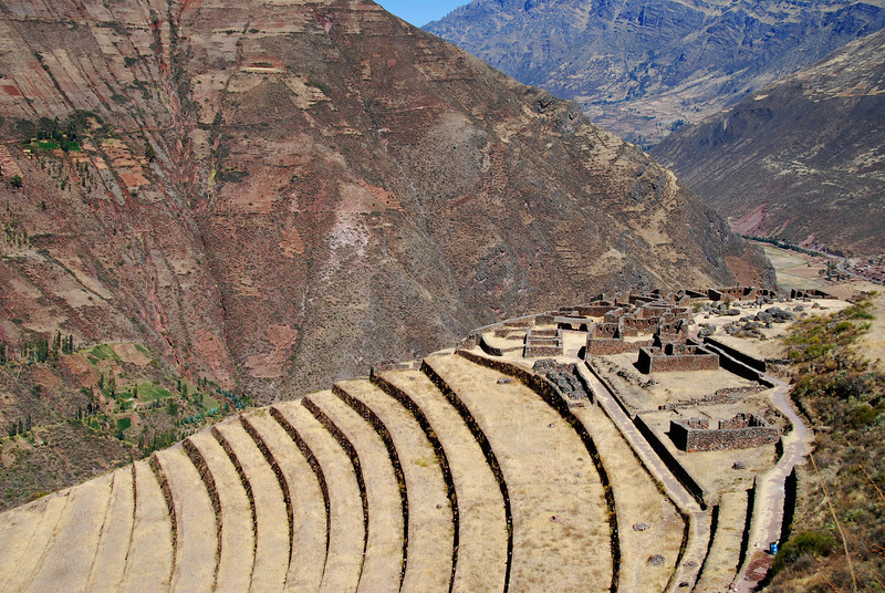 Notice the agricultural terraces leading up to the hilltop fort at Pisac.