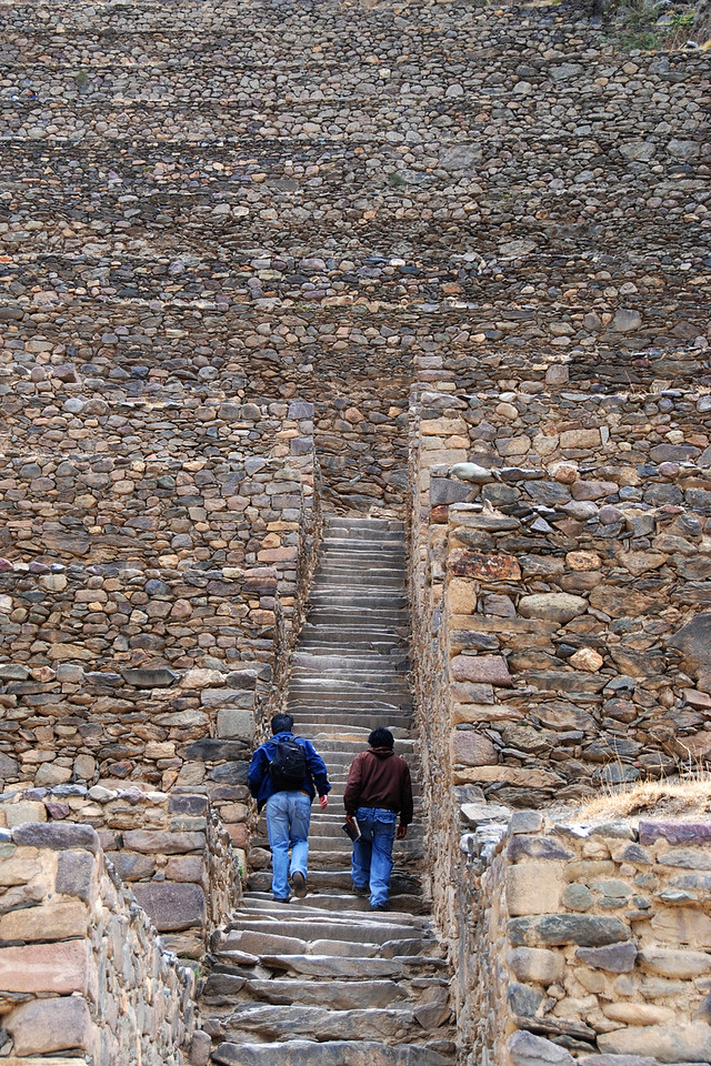 Some climbing up to the ruins at Ollantaytambo.
