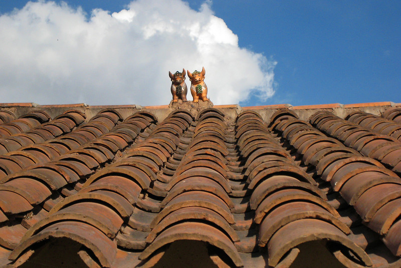 Animal fertility symbols atop roofs...