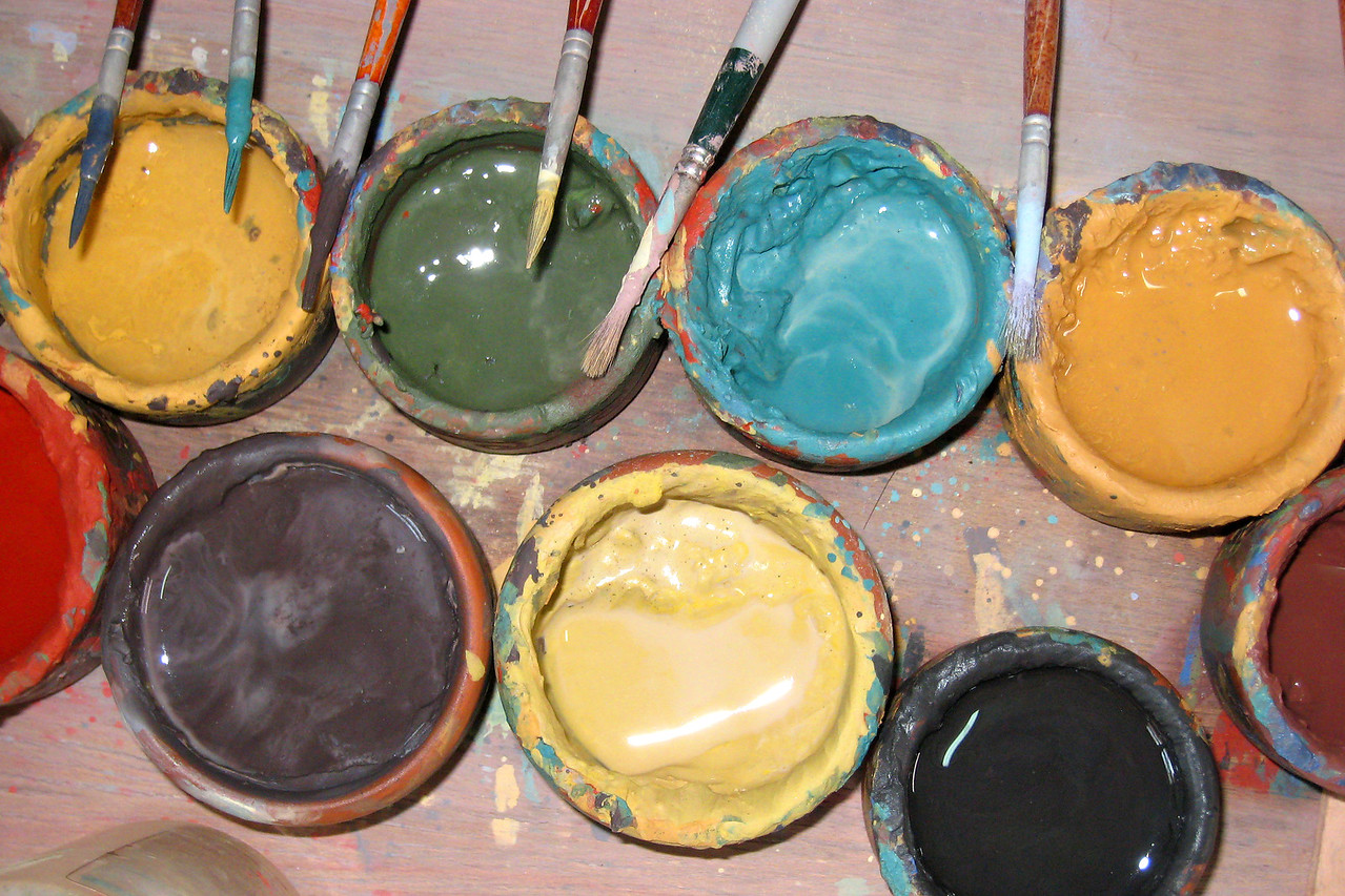Using paints like these.