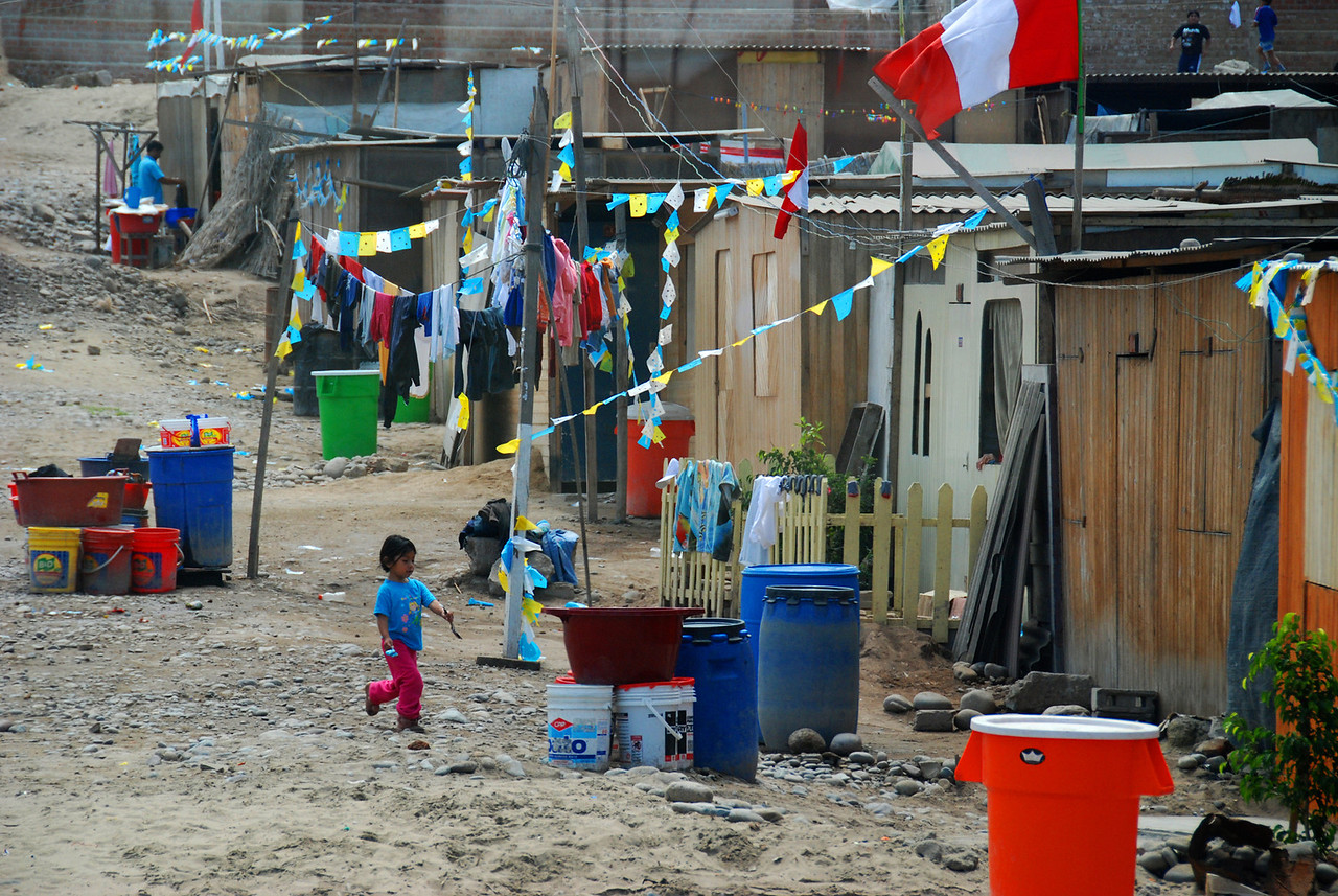 But, many of the Lima residents live in self-governing shantytowns like this one that typically lack water and electricity.