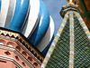Close up of the onion domes of St. Basil's Cathedral. Note the brickwork, the colorful tiles and the rivets holding together the metal panels. (Jan)