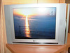 Sunset view from front of ship as shown on our cabin TV