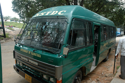 The 'safari' bus at Bannerghatta zoo in Bangalore.