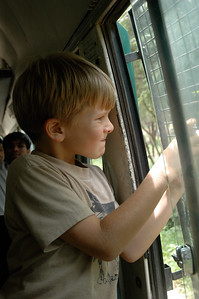 Bannerghatta National Park, Bangalore; Andy takes photos from the safari bus.