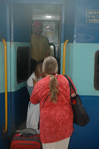 Pam boards the train in Chennai.