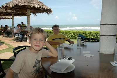 Andy and John, ready for lunch at a Chennai beach on the Bay of Bengal.