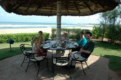 A pleasant lunch at the beach on the Bay of Bengal.  (Taj Fisherman's Cove resort)