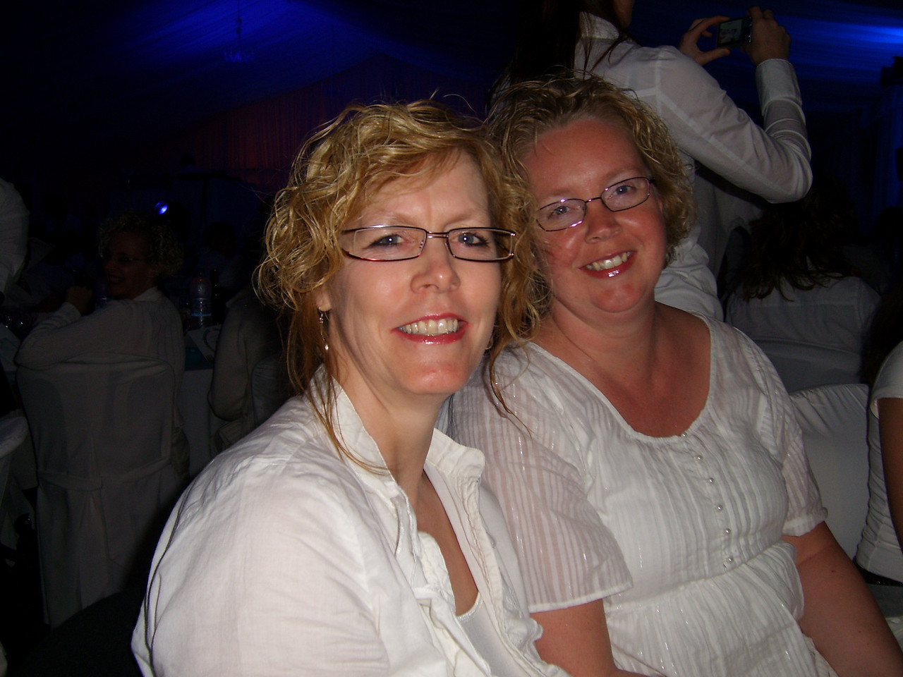 The final night, BIG party! All dressed in white. AWESOME!<br /> Here's Ellie and me.