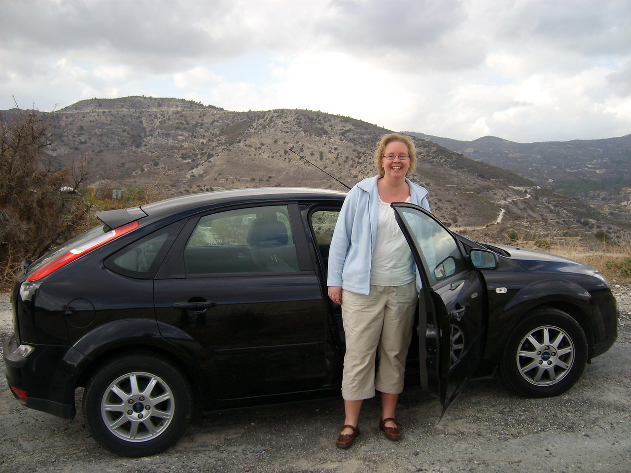 Here's me! First time driving in an English car, steering wheel on the right, driving on the left hand side of the road...<br /> Went surprisingly well actually.