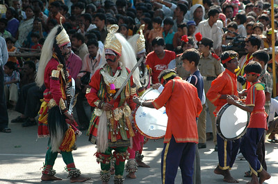 Dancers and drummers; Dasara parade in Mysore.