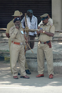 A heavy police presence throughout the day, along the Dasara parade route in Mysore.