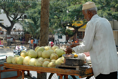 Grapefruits for sale. Dasara parade route in Mysore.