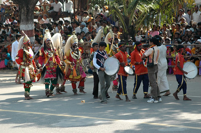 The first troupe of costumed dancers. Dasara parade in Mysore.