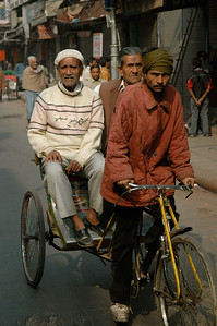 cycle rickshaws are common on the streets of Old Delhi.