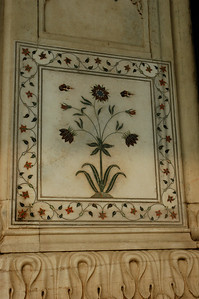 Red Fort: delicate marble inlay work. [Delhi]