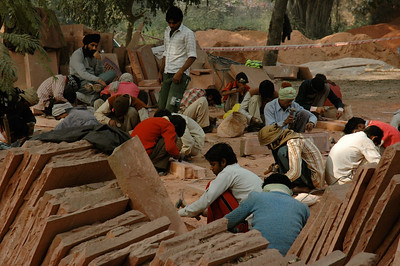 Humayan's tomb: restoration work is ongoing, using traditional methods. [Delhi]