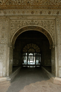 Rang Mahal (inside Red Fort); note the colorful walls and ceiling. [Delhi]