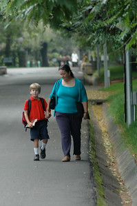 Andy and Mommy on the 20-minute walk across IISc campus to the schoolbus.