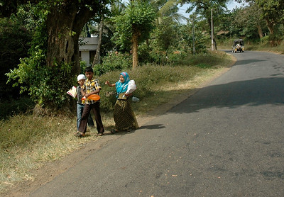A family walks beside the road in the Western Ghats.