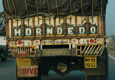 """Commonly seen on trucks, meaning """"ok to blow horn""""; on the road from Kharagpur to Kolkata."""