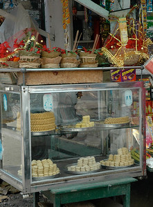 offerings and sweets for sale at Dakshineswar Kali Temple. Kolkata.