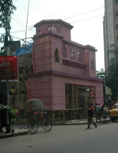 A pandal being readied for Durga Puja, next week; Kolkata.