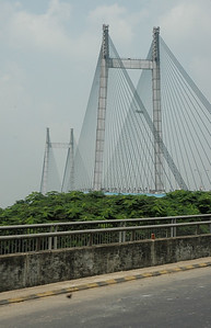 The Vivekananda Setu bridge across the Hooghly river. Kolkata.