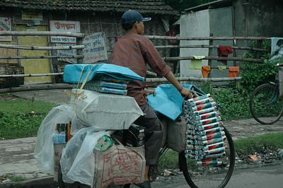 Off to market with everything on one bicycle.