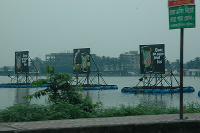 Billboards are pervasive in Indian cities; these are floating!