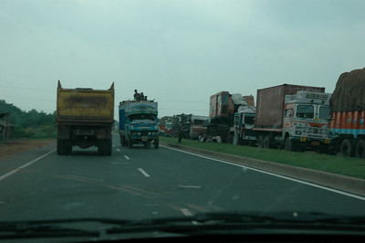 When the other side has a traffic jam, trucks use our side. Yikes!