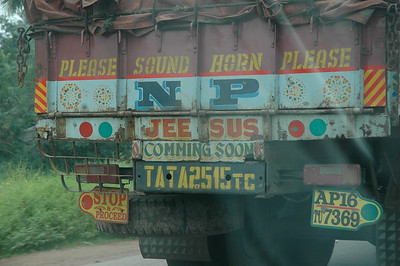 """Most trucks are painted.  """"Jeesus coming soon""""?"""