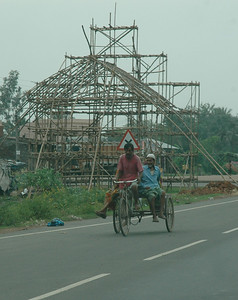 I saw many of these bamboo structures (pandals) underway.