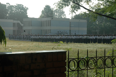 IIT Kanpur - children line up for morning assembly at high school.