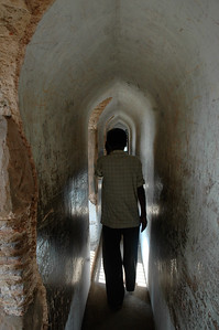 The guide I hired at Bara Imambara, takes me into bhulbhulayah, a maze-like set of passages.  Lucknow.