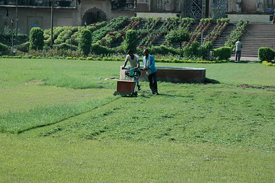 The few (automated)  lawnmowers I've seen in India are electric.