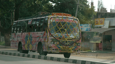 Nearly every bus and truck heading for Mysore was draped with garlands.