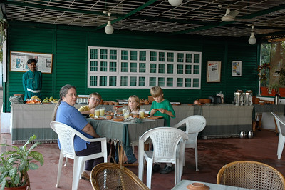 The kids enjoyed the breakfast buffet at the Green Hotel in Mysore.