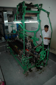 A silk loom at one of the shops in Mysore.