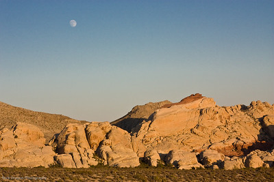 Sunset and moonrise, Redrock Canyon, Nevada U.S.