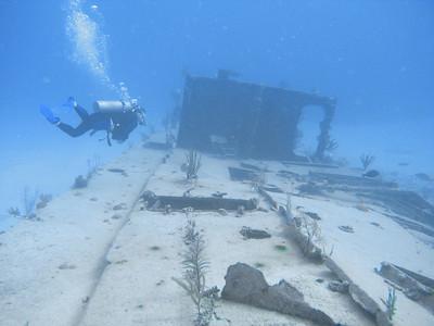 "Shipwreck of the British Bomber from James Bond's ""Thunderball"" off New Providence, Bahamas."