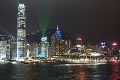 A Princess ship plays a role in the city's light show.
