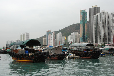 Aberdeen Fishing Village in the middle of Hong Kong.